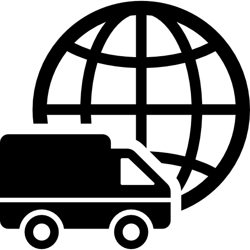 international logistics delivery truck symbol with world grid behind